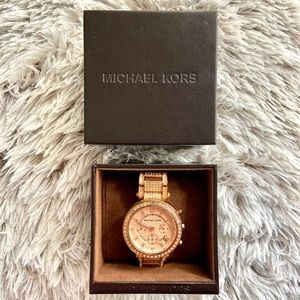 🌻 MICHAEL KORS PARKER ROSE GOLD STEEL WATCH 🌻